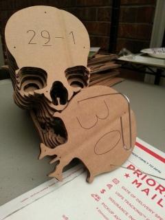 Laser cut cardboard skull