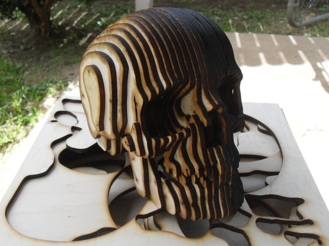 Lasercut plywood skull