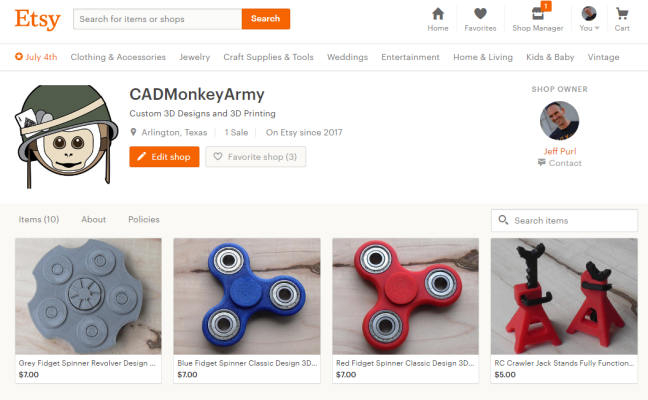 CAD Monkey Army Etsy Shop